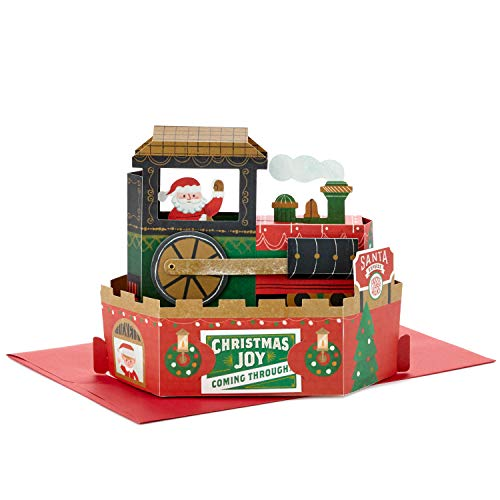 Hallmark Paper Wonder Displayable Pop Up Christmas Card with Sound and Motion (Christmas Train, Plays Deck The Halls)