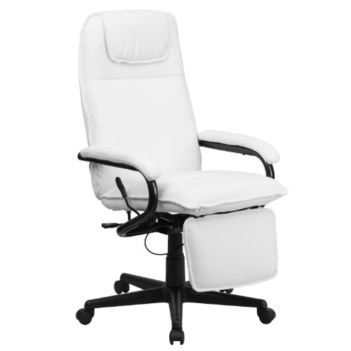 Flash Furniture High Back White LeatherSoft Executive Reclining Ergonomic Swivel Office Chair with Arms, BIFMA Certified