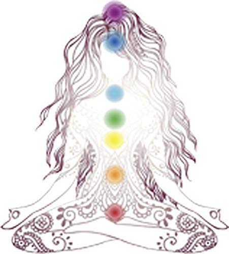 Delicate Yoga Yoji Woman with Henna and Rainbow Shakras Vinyl Decal Sticker (4' Tall)