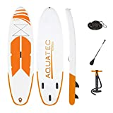 AQUATEC Inflatable Paddle Boards | Adjustable Paddle | PVC Backpack | Dual Pump