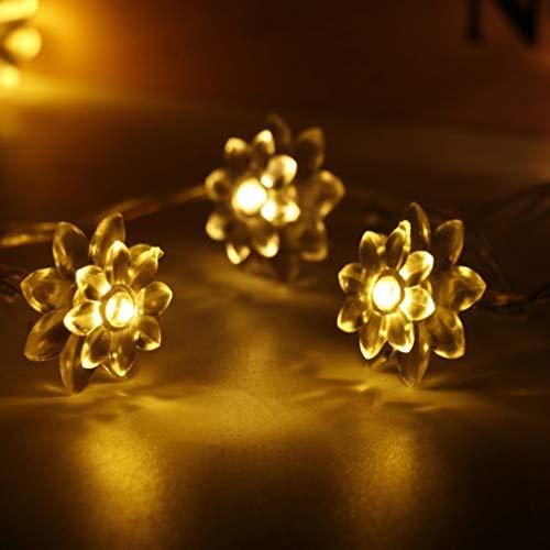 OSALADI 50Leds Solar Lotus String Luces Al Aire Libre Impermeable IP44 Cálido Blanco Flor Luz Hada Noche Luces para Dormitorio Jardín Boda Fiesta Decoración