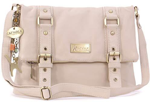 Catwalk Collection Handbags - Vera Pelle - Borse a Tracolla/Borsa a Mano/Messenger/Borsetta Donna - Con Ciondolo a Forma di Gatto - Abbey - ROSA