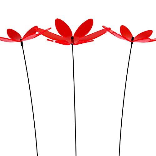 SUNPLAY Sonnenfänger Lotusblume in Rot, 3 Stück zu je 20 cm Durchmesser im Set + 70 cm Schwingstäbe