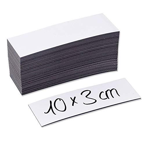 50 beschreibbare Magnet-Etiketten MAGSTICK® mag_815 I 10 x 3 cm I weiß I magnetische Beschriftungsfolie beschreibbar Magnet-Streifen zum Beschriften