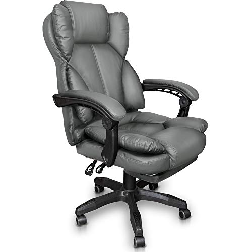 Trisens Schreibtischstuhl Bürostuhl Gamingstuhl Racing Chair Chefsessel mit Fußstütze, Farbe:Hellgrau