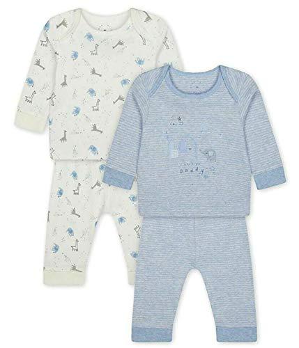 Baby Mothercare 2 Pack Ragazzi Animali Stampato Cotone Pigiama Pjs Set Bambini Sonno Tuta Da Notte 0-24 Mesi Blu e bianco. 1 mese