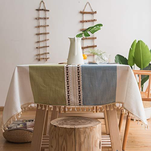Mantel de algodón y cáñamo para decoración de mesa o mesa de hotel, de algodón