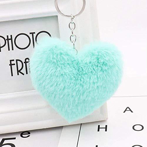 Miner Plush Ball Llavero Love Mobile Phone Key Chain Soft Artificial Rex Rabbit Hair Ball Llavero...