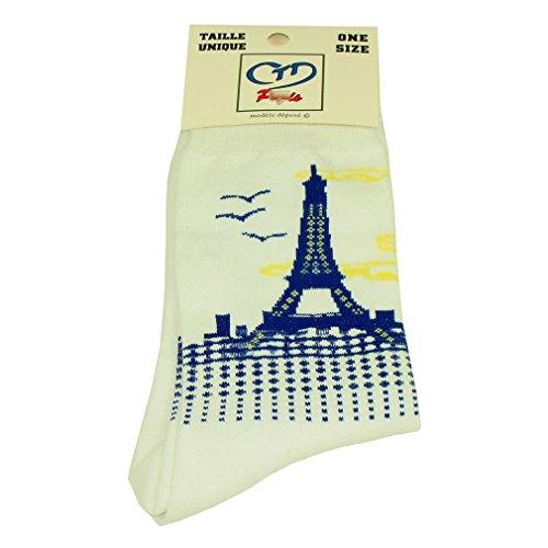 Souvenirs de France - Chaussettes Homme Tour Eiffel - Blanc