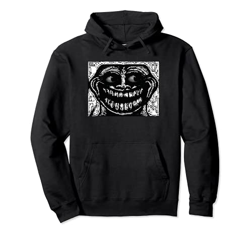 Creepy Troll Face Meme Scary Troll Face Meme Pullover Hoodie