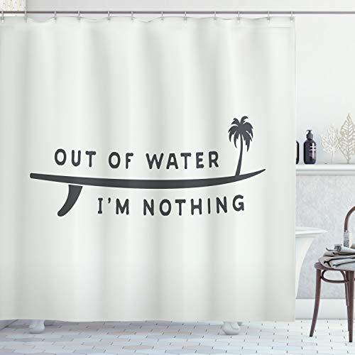 ABAKUHAUS Surfen Duschvorhang, Aus Wasser Bin ich Nichts, mit 12 Ringe Set Wasserdicht Stielvoll Modern Farbfest und Schimmel Resistent, 175x200 cm, Anthrazit grau Kokosnuss