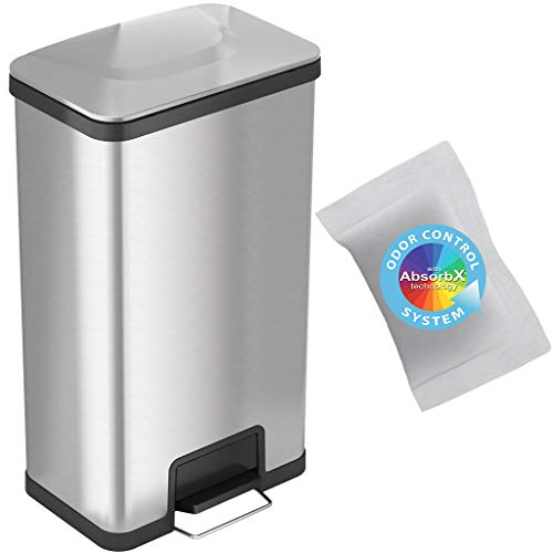 iTouchless SoftStep 18 Gallon Stainless Steel Step Trash Can with Odor Control System, 68 Liter Commercial Size Kitchen, Office, Home Garbage Bin