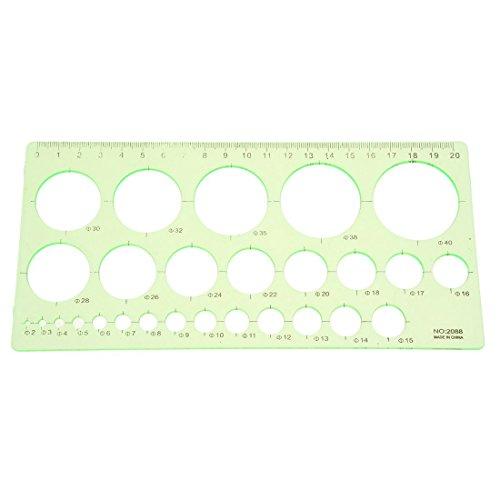 Toolmore Verde Regla de plantilla de circulo de dibujo forma rectangula de estudiantes de plastico