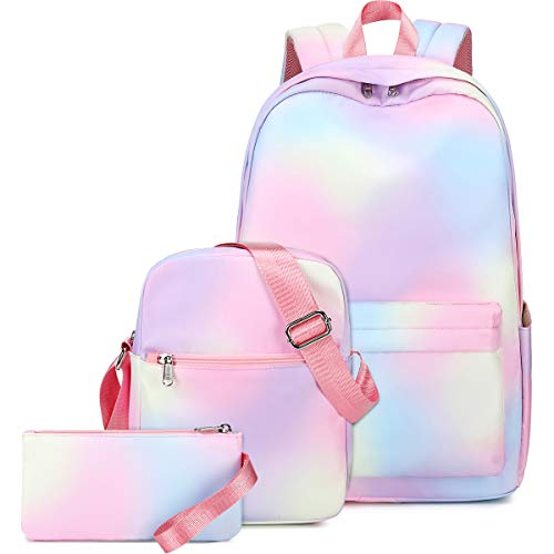 School Backpacks for Teen Girls Rainbow Backpack School Bookbags Set Lunch bag Pencil Case (Y064/Rainbow)