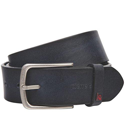 Pierre Cardin Cinturón de piel de vacuno para hombre, 40 mm de ancho y 3,8 mm de grosor, se puede acortar azul marino 85 cm