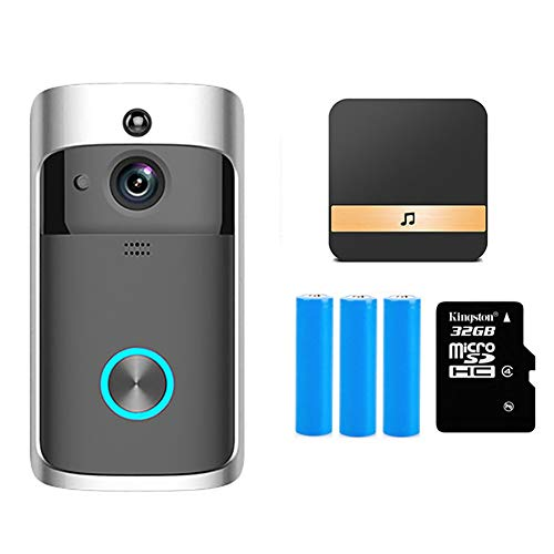 SKTE Timbre Inteligente Cámara WiFi Intercomunicador De Llamada Inalámbrica Video-Eye para Apartamentos Timbre De Puerta para Teléfono Cámaras De Seguridad para El Hogar (Color : Add 32GB TF Card)