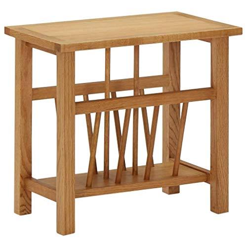 vidaXL Solid Oak Wood Magazine Table Wooden Storage Side Stand Unit Living Room Magazine Rack Bedroom End Table Desk Furniture MDF