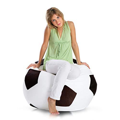 Ecopuf Fußball M Sitzsack aus Ecoleder – Handgefertigtes Fußball Mitzkissen mit doppelt verstärkten Nähten, 65 x 45 cm, Bodensitzkissen mit Polystyrol Füllung Farbe Dunkelbraun E13