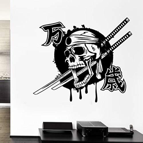 Dwzfme Adhesivos Pared Pegatinas de Pared Kendo Pegatina Samurai Espada calcomanía Ninja Cartel Vinilo Arte Calavera Parede decoración Mural Kendo Pegatina 58x68cm