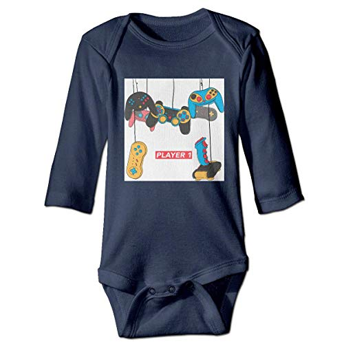 Klotr Mameluco Bebé, Player 1 Vintage Video Game Pijama de Algodón Mameluco Niñas Niños Pelele Mono Manga Larga Trajes