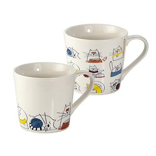 Juego de 2 Tazas Desayuno Originales de Porcelana Fina, Tazas de Café Grandes 15oz con Diseño de Gatos Graciosos, Regalos para Mujer y Hombres Amantes de los Gato