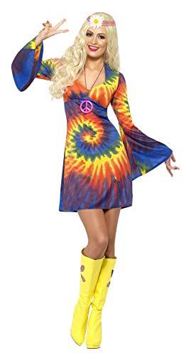 Smiffys, Damen 60er Schnurbatik Kostüm, Kleid, Hippie, Größe: L, 20741
