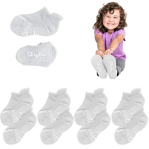 Skyba Stoppersocken Kinder- Anti Rutsch Rutschfeste Socken Kleinkinder Jungen Mädchen Baby (4 Paar (Weiß), Medium)