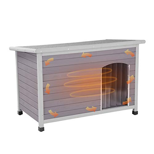 GUTINNEEN Dog House Outdoor 100% Insulated, Heated Wooden Dog Kennel for Winter, Indoor Cat House Weatherproof-200% Thicker Than Normal Dog Crate