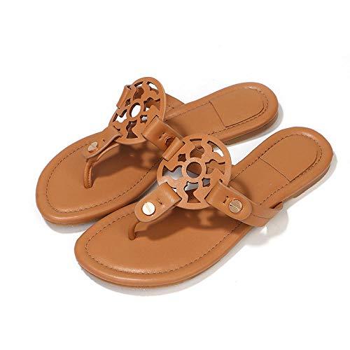 YYFF Verano Antideslizante Sandalias,Flat Beach Slippers,Flip-Flops-Brown_41,Chanclas Hombre Flip Flops Cuero