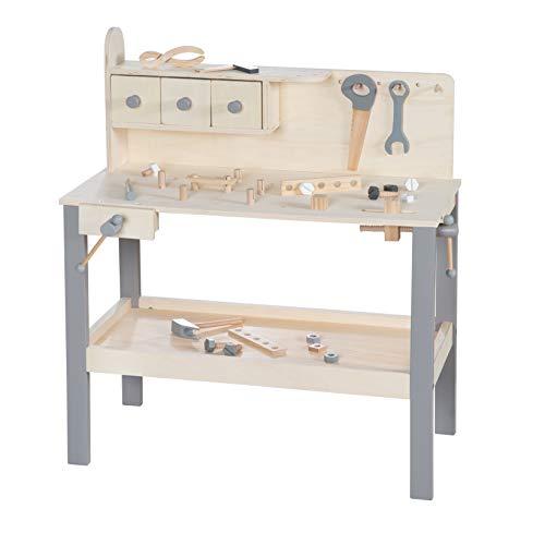 roba Werkbank, große Holzwerkbank, mit Werkzeug Set, großer Arbeitsplatte, Ablage, 3 Schubfächern, 97210GA, grau