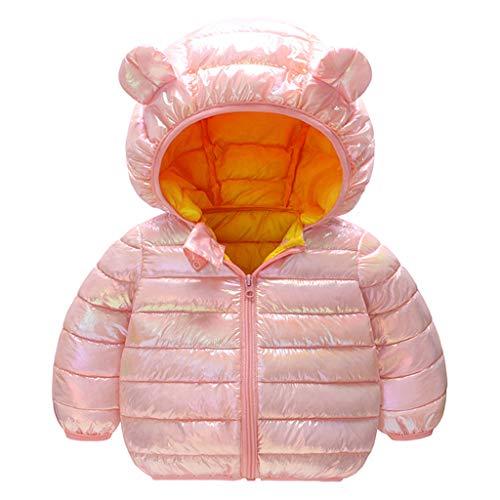 TinaDeer Mantel Baby Kinder Mädchen Jungen Daunenjacke mit Ohr Kapuze Daunenmantel Funkeln Winterjacke Outwear Steppjacke Warme Oberbekleidung Übergangsjacke 1 - 6 Jahre (Rosa, 110)
