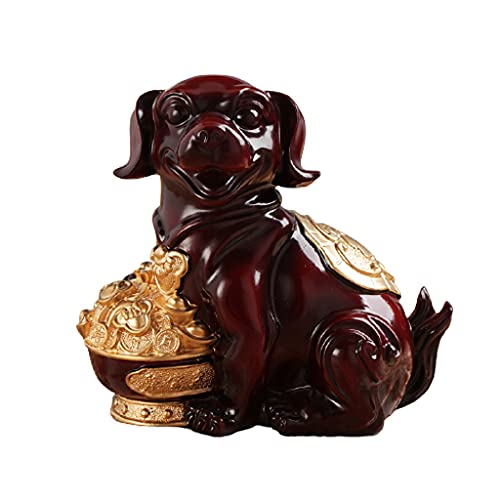 Lindo perro hucha vintage resina moneda caja de ahorro de dinero para niño muchacho muchacha adulto ahorros jar decoración casera decoración caja de dinero ( Color : Red , tamaño : 8.5x4.7x8.1inches )