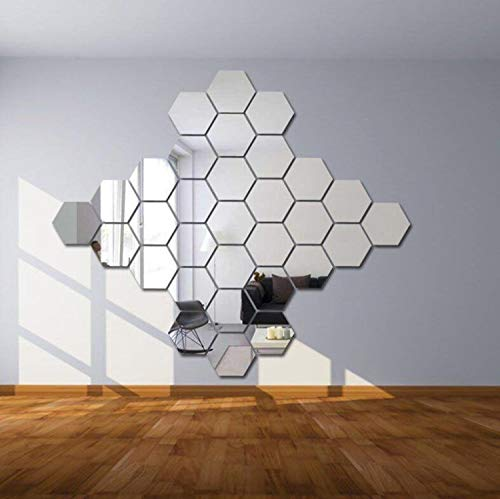 Prabahdak 12 PCS Mirror Wall Sticker DIY Acrylic Wall Stickers Hexagon Stickers Self Adhesive Sticker Wall Sticker Decals for Home Living Room BedroomL 7.24 x 6.29 x 3.62 inches