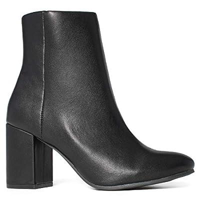 Women's Round Toe Chunky Heeled Side Zip Slim Fit Ankle Booties Black (6)