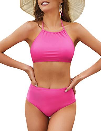 Naggoo High Waited Bathing Suits for Women High Neck Swim Suits Coverage Bikini Rosy Large