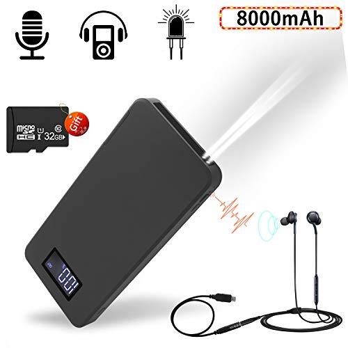 Grabadora de voz Digital Portátil, 8000 mAh Excelente Duración de la Batería Hasta 35 días de Grabación de voz y Función de Reproducción de MP3 para Clase,Reunion,Conferencias(Incluye Tarjeta de 32GB)