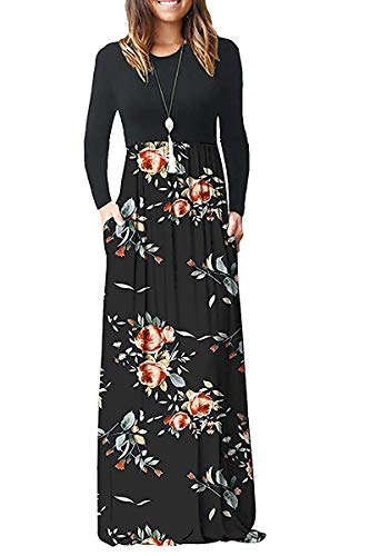 AUSELILY Women Long Sleeve Loose Plain Maxi Dresses Casual Long Dresses with Pockets (XS, Rose Black)
