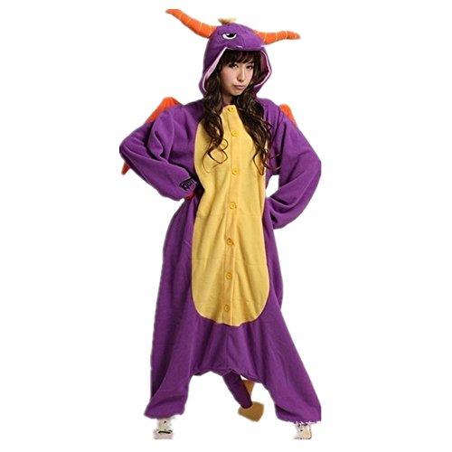 misslight Einhorn Pyjama Damen Jumpsuits Tieroutfit Tierkostüme Schlafanzug Tier Sleepsuit mit Einhorn Kostüme Festival tauglich Erwachsene (M, Lila Dinosaurier)