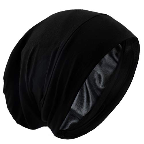 Satin Silk Lined Sleep Cap Frizzy Hair Beanie Adjustable Bonnet Slouchy Skull Night Cap Hair Protection Patients Care…