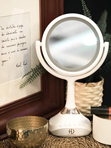 HaloOptronics - Venus Beauty Station - Espejo de Maquillaje 3 en 1 con Iluminación LED y Altavoz Bluetooth - Doble Lado Normal y Lupa