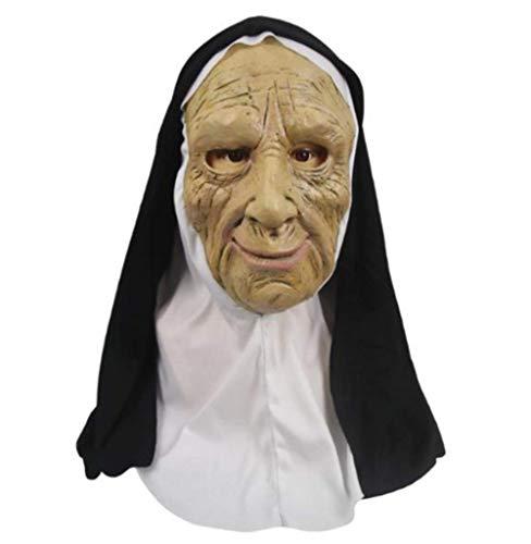 tytlmask De Nun Horror Latex Masker, Cosplay Enge Maskers Met Hoofddoek, Volledige Gezicht Helm Masker, Voor Halloween Party Props, Fit Volwassenen Size