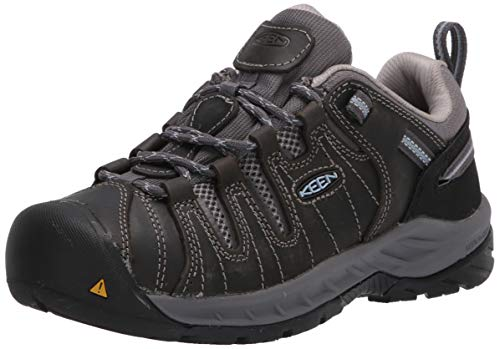 KEEN Utility Women's Flint 2 Low Soft Toe Non Slip Work Shoe, Steel Grey/Paloma, 7 Medium US