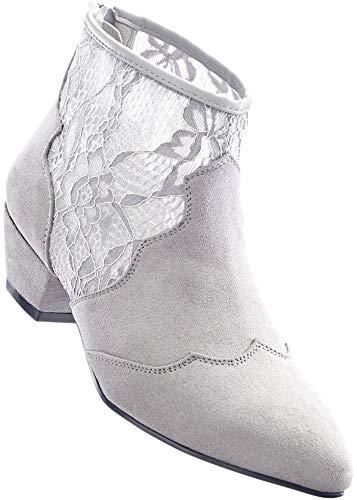 Stiefelette mit Spitzeneinsatz, Damenstiefelette, Stiefel, Gr. 36-42 (38, hellgrau)