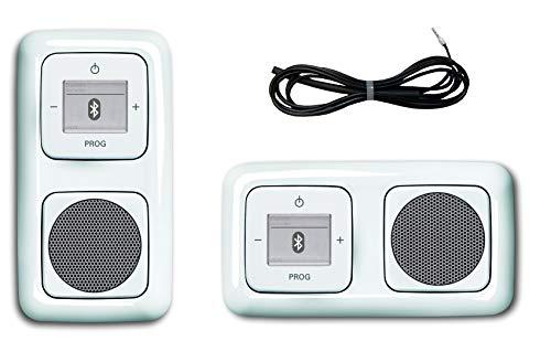 Busch Jäger Unterputz UP Bluetooth Radio 8217 U (8217U) Reflex SI alpinweiß KomplettSet Radio + Lautsprecher + 2fach Rahmen 2512-214 + Abdeckungen + EBROM Wurfantenne zur Verbesserung des UKW Signals