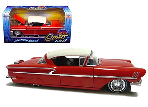 "1958 Chevrolet Impala Red ""Lowrider Series"" Street Low 1/24 Diecast Model Car by Jada 98920"