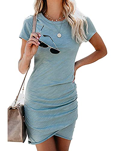 Women's Crew Neck Ruched Stretchy Tulip Hem Bodycon Short Mini Dress T Shirt Sheath Dresses M...