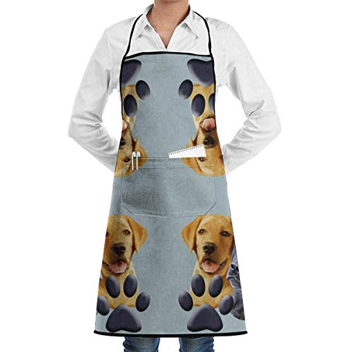 Drempad Schürzen Labrador with Pawprint Adjustable Apron for Kitchen BBQ Barbecue Cooking - Cooking Apron,Kitchen Apron,BBQ Apron