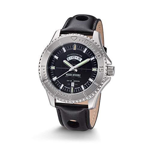 Kronsegler Mission Impossible H3 Tritium Uhr Stahl-Schwarz Lederband Schwarz