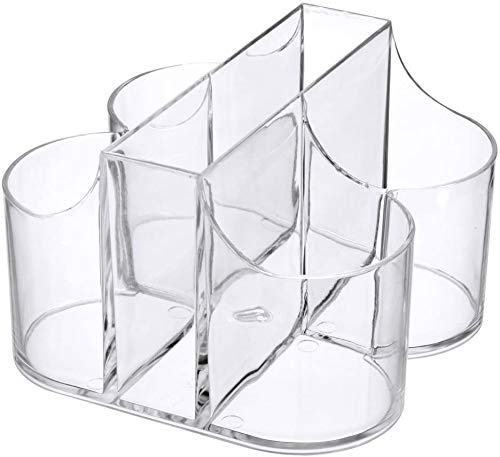 5 Compartment Classic Acrylic Napkin Holder with Cutlery Organizer Caddy Bin For Spoons Forks Knives Cups