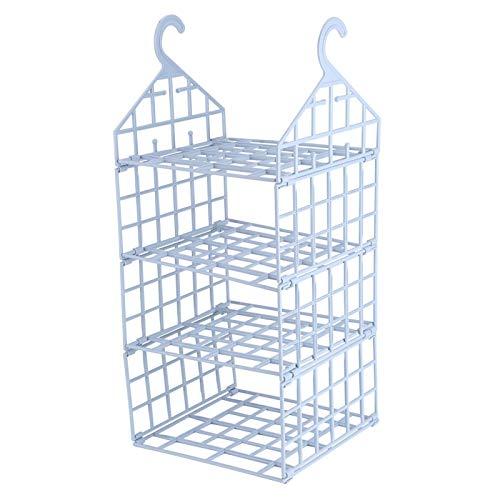 Hanging Storage Shelf - 3-Layer Hanging Wardrobe Storage Rack Clothes Underwear Holder Closet Organizer Shelves(Light Blue)